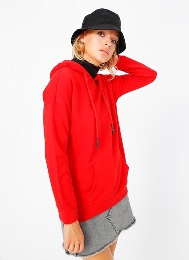 Limon Company Limon Kapüşon Yaka Kırmızı Kadın Sweatshirt Kırmızı